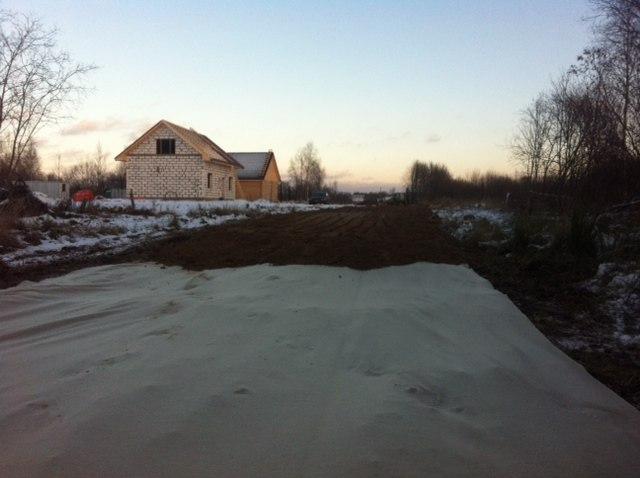 Песок на геотекстиле